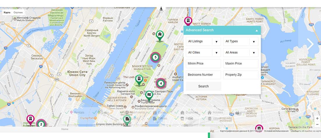 Интерактивная карта объектов недвижимости