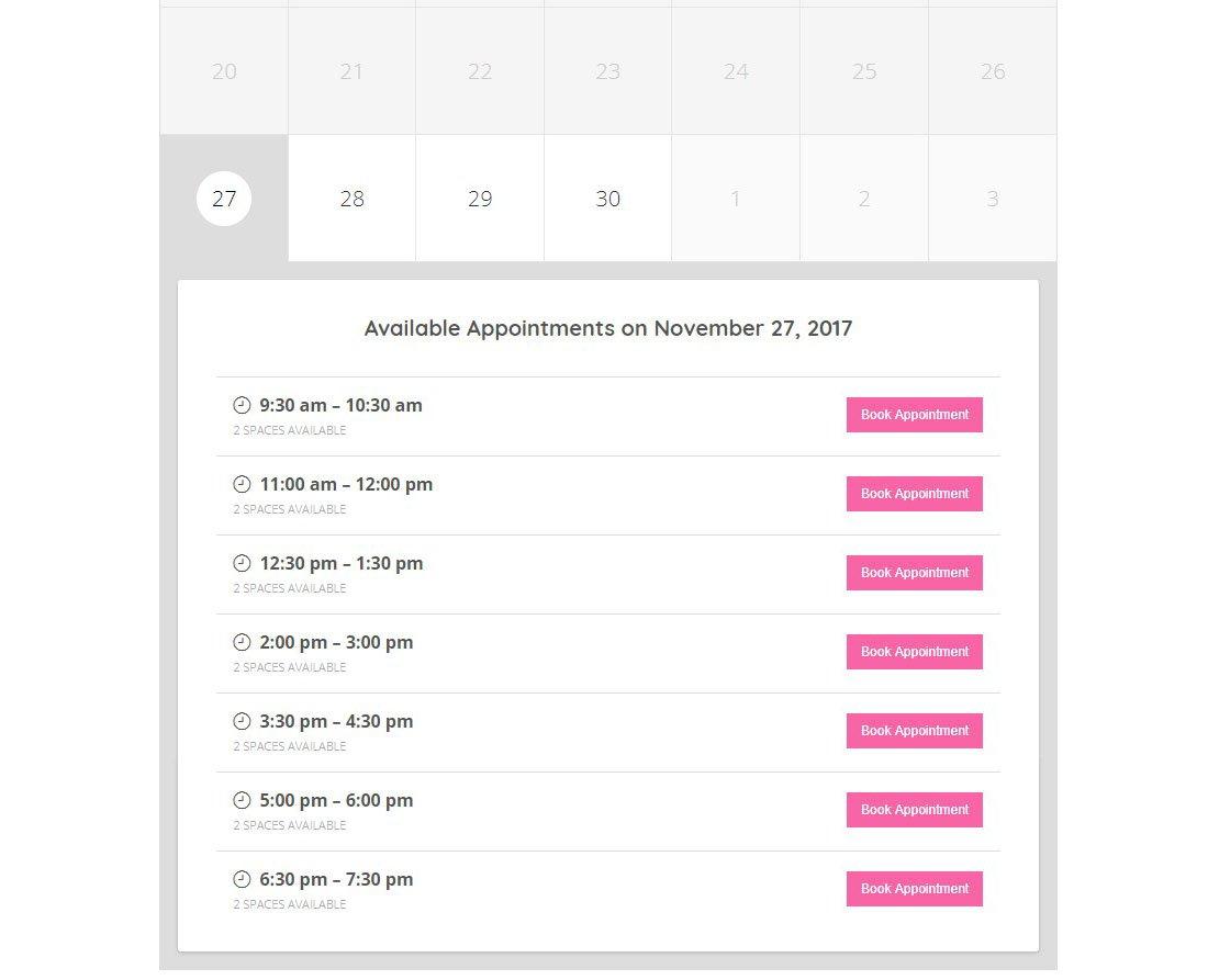 Календарь записи на прием