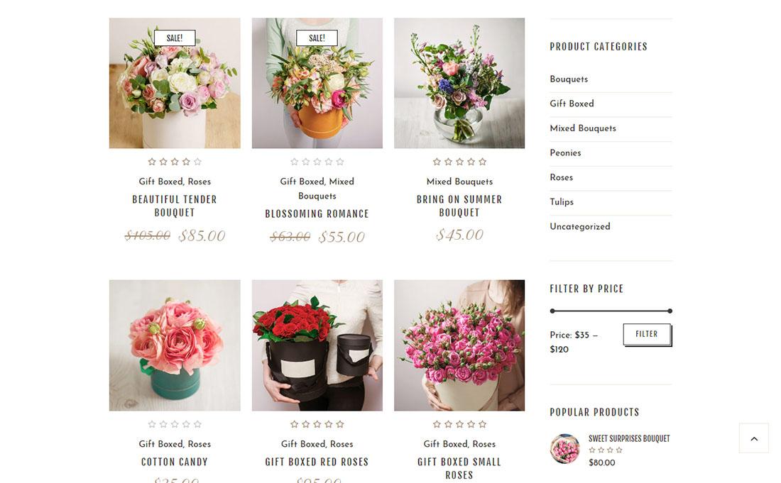 Каталог цветов на сайте